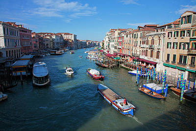 Europe Italy Venice View From Rialto Poster by Terry Eggers