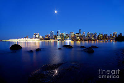 Evening Moon Over Vancouver Harbour 2 Poster by Terry Elniski