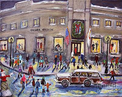 Evening Shopping At Grover Cronin Poster by Rita Brown