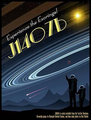 Exoring J1407b - Travel Poster Poster by Mark Garlick