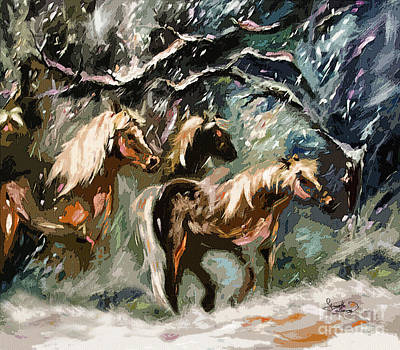 Expressive Haflinger Horses In Snow Storm Poster by Ginette Callaway