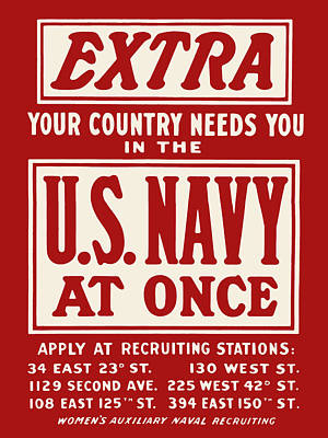 Extra - Your Country Needs You In The U.s. Navy Poster by God and Country Prints
