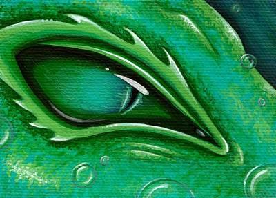 Eye Of The Green Algae Dragon Poster by Elaina  Wagner