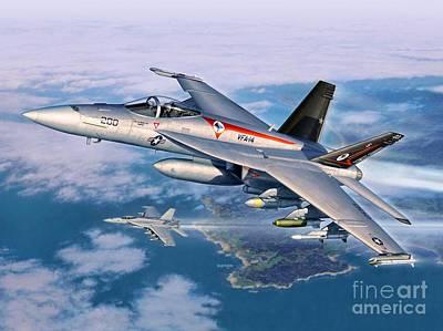 F-18e Super Hornet Poster by Stu Shepherd