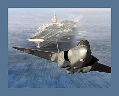 F-35 Catapult Launch From Us Super Carrier Poster by L Brown