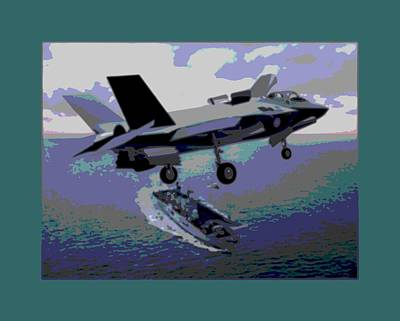 F-35 Strike Fighter On Final Approach To The Us Marine Corps Assault Carrier Enhanced Poster by L Brown