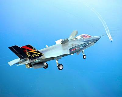 F 35 Joint Strike Fighter Fianl Approach Us Assault Carrier Enhanced IIi Poster by US Military - L Brown