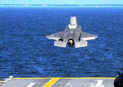 F-35 Slow Vertical Take Off From Amphibious Assault Carrier Us Marine Corps Poster by L Brown