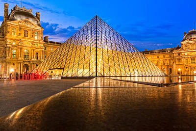Fabulous Louvre Pyramid At Night Poster by Mark E Tisdale