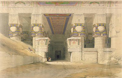 Facade Of The Temple Of Hathor, Dendarah, From Egypt And Nubia, Engraved By Louis Haghe 1806-85 Poster by David Roberts