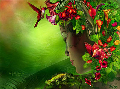 Fae In The Flower Hat Poster by Carol Cavalaris