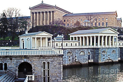 Philadelphia Art Museum At The Water Works  Poster by Tom Gari Gallery-Three-Photography