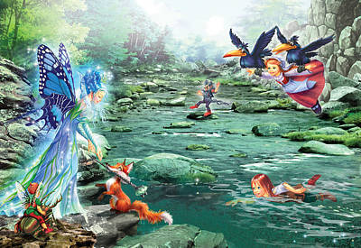 Fairy Stream Poster by Zorina Baldescu
