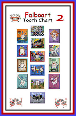 Falboart Tooth Chart Number 2 Poster by Anthony Falbo