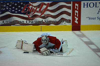 Falcons Goalie Stretching Poster by Mike Martin
