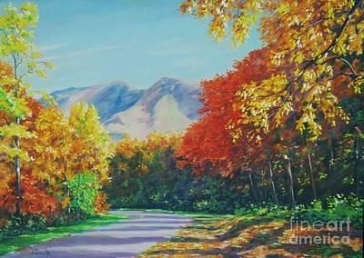 Fall Scene - Mountain Drive Poster by John Clark