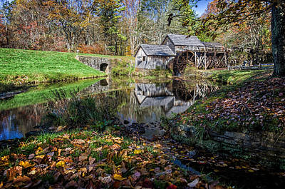 Fallen Leaves At Mabry Mill Poster by Lori Coleman