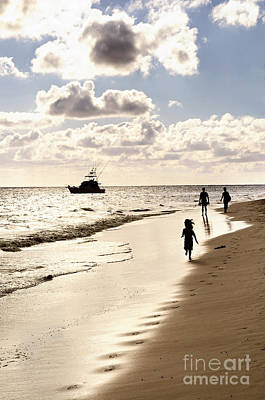 Family On Sunset Beach Poster by Elena Elisseeva