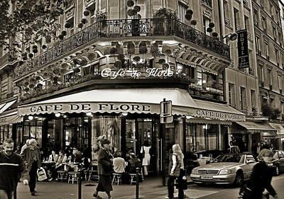 Famous Cafe De Flore - Paris Poster by Carlos Alkmin