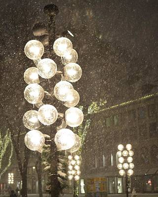 Faneuil Hall Lollypop Lights During A Snow Storm Poster by Toby McGuire