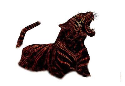 Royal Tiger Inside Mist In Digital Art Poster by Mario Perez