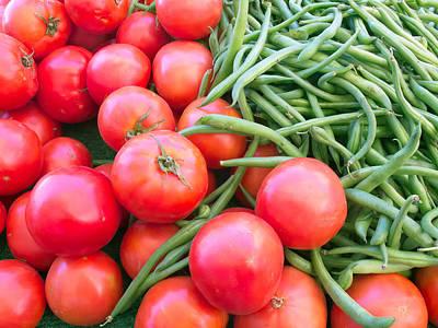 Farm Fresh Tomatoes And Beans Poster by Ram Vasudev