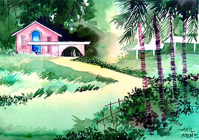Unique View Poster featuring the drawing Farm House New by Anil Nene
