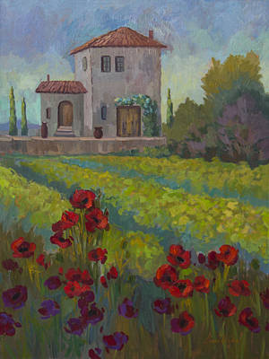 Farm In Sienna Poster by Diane McClary