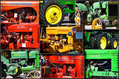 Farm Tractor Collage Rectangle Poster by Thomas Woolworth