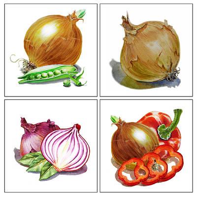 Farmers Market Onion Collection Poster by Irina Sztukowski