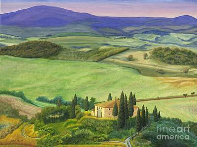 Farmhouse In Tuscany Poster by Austin Burke