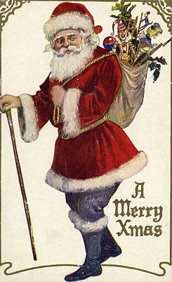 Father Christmas With A Bag Of Toys Poster by English School