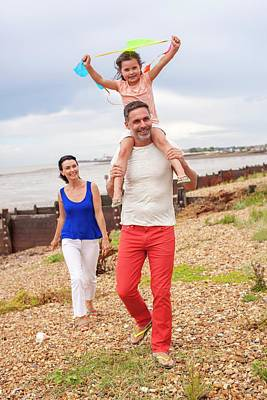 Father On Beach With Daughter Poster by Ian Hooton