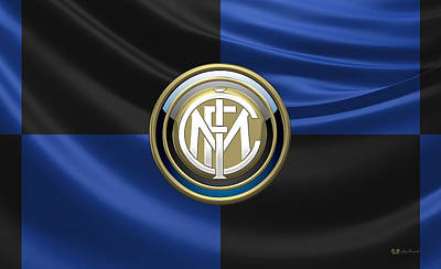 Inter Milan Poster featuring the digital art F.c. Inter Milan - New 3d Badge Over Flag by Serge Averbukh