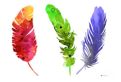 Feathers Silhouette Painting Watercolor Art Print Poster by Joanna Szmerdt