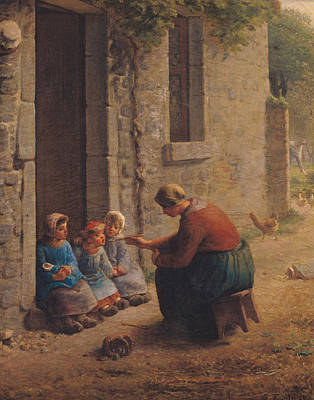 Feeding The Young Poster by Jean-Francois Millet