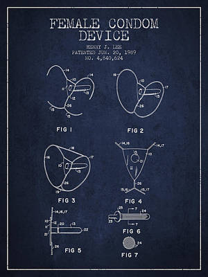 Female Condom Device Patent From 1989 - Navy Blue Poster by Aged Pixel