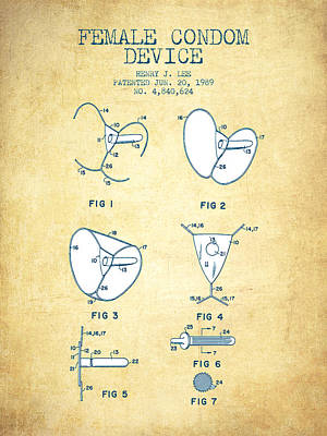 Female Condom Device Patent From 1989 - Vintage Paper Poster by Aged Pixel