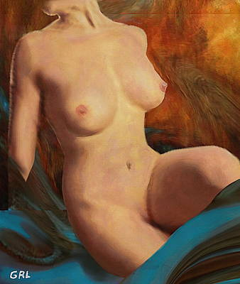 Nudes Poster featuring the painting Female Nude Seated Mods4a  Fine Art Painting by G Linsenmayer
