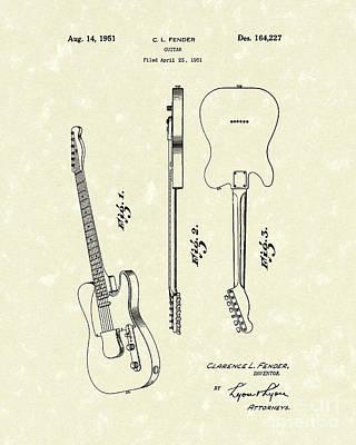 Fender Guitar 1951 Patent Art Poster by Prior Art Design