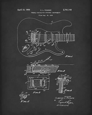 Fender Tremolo Device 1956 Patent Art Black Poster by Prior Art Design