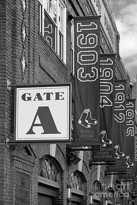Fenway Park Gate A Bw Poster by Jerry Fornarotto