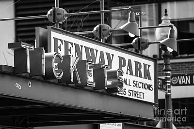 Fenway Tickets Bw Poster by Jerry Fornarotto