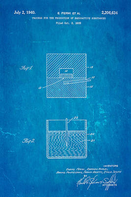 Fermi Radioactive Substance Manufacture Patent Art 1940 Blueprint Poster by Ian Monk