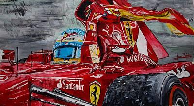Fernando Alonso And Ferrari F10 Poster by Juan Mendez