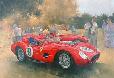 Ferrari, Day Out At Meadow Brook Oil On Canvas Poster by Peter Miller