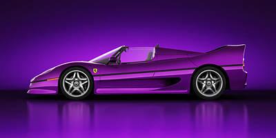 Ferrari F50 - Neon Poster by Marc Orphanos