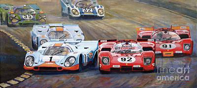Ferrari Vs Porsche 1970 Watkins Glen 6 Hours Poster by Yuriy  Shevchuk