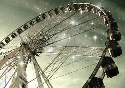 Ferris Wheel At Night In Paris Poster by Marianna Mills
