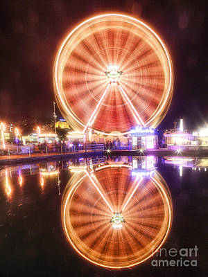 Ferris Wheel Reflections Poster by George Oze